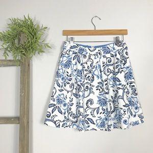 LOFT | Blue & White Floral Paisley Pleated Skirt